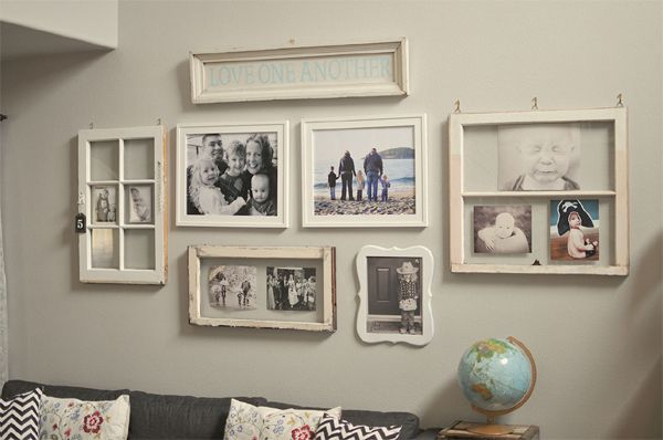 great ideas to display family photos on your walls vintage windowsold windowsvintage window decorwindow also rh pinterest