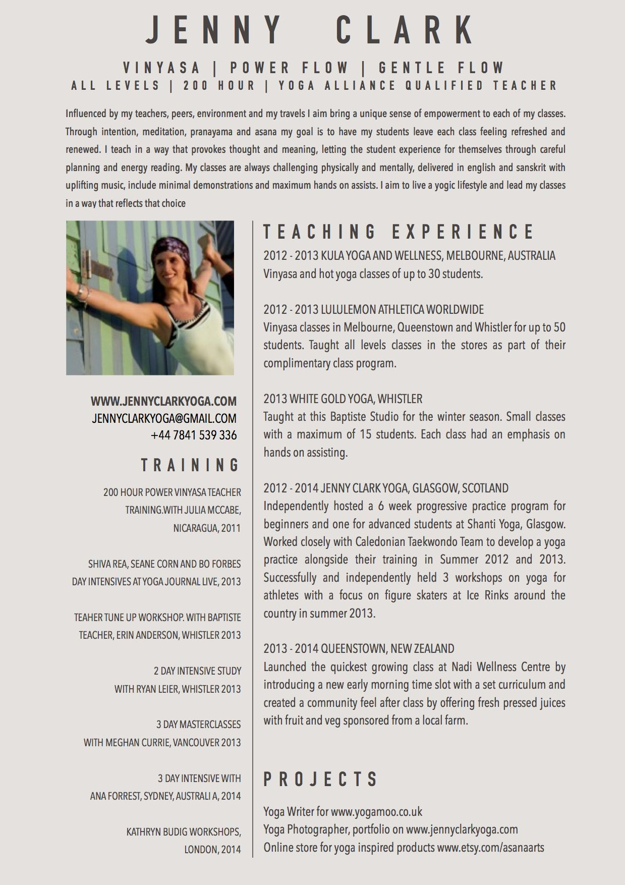 sample resume of yoga instructor