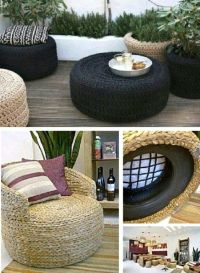Old Tire Rope Ottoman Super Easy DIY Video Tutorial | Tire ...