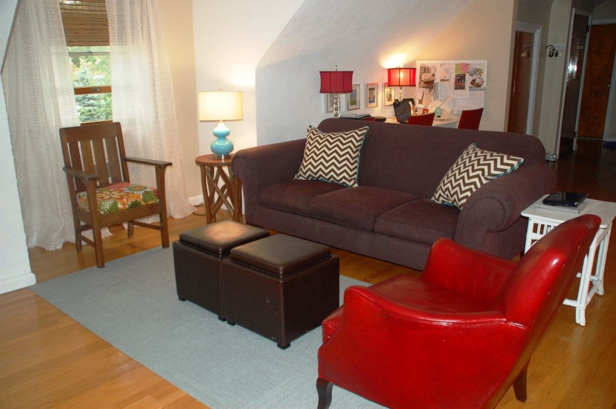 Watch modern living rooms from hgtv contemporary purple living room makeover 03:55 contemporary purple living room makeover 03:55 meg caswell helps a young couple remodel their living room into a contemporary space that includes a game area. Red And Brown Living Room Decorating Ideas