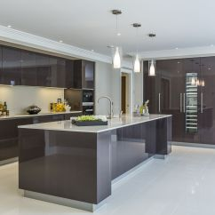 High Gloss Kitchen Cabinets Granite Slab For Extreme Contemporary Minimal Design In