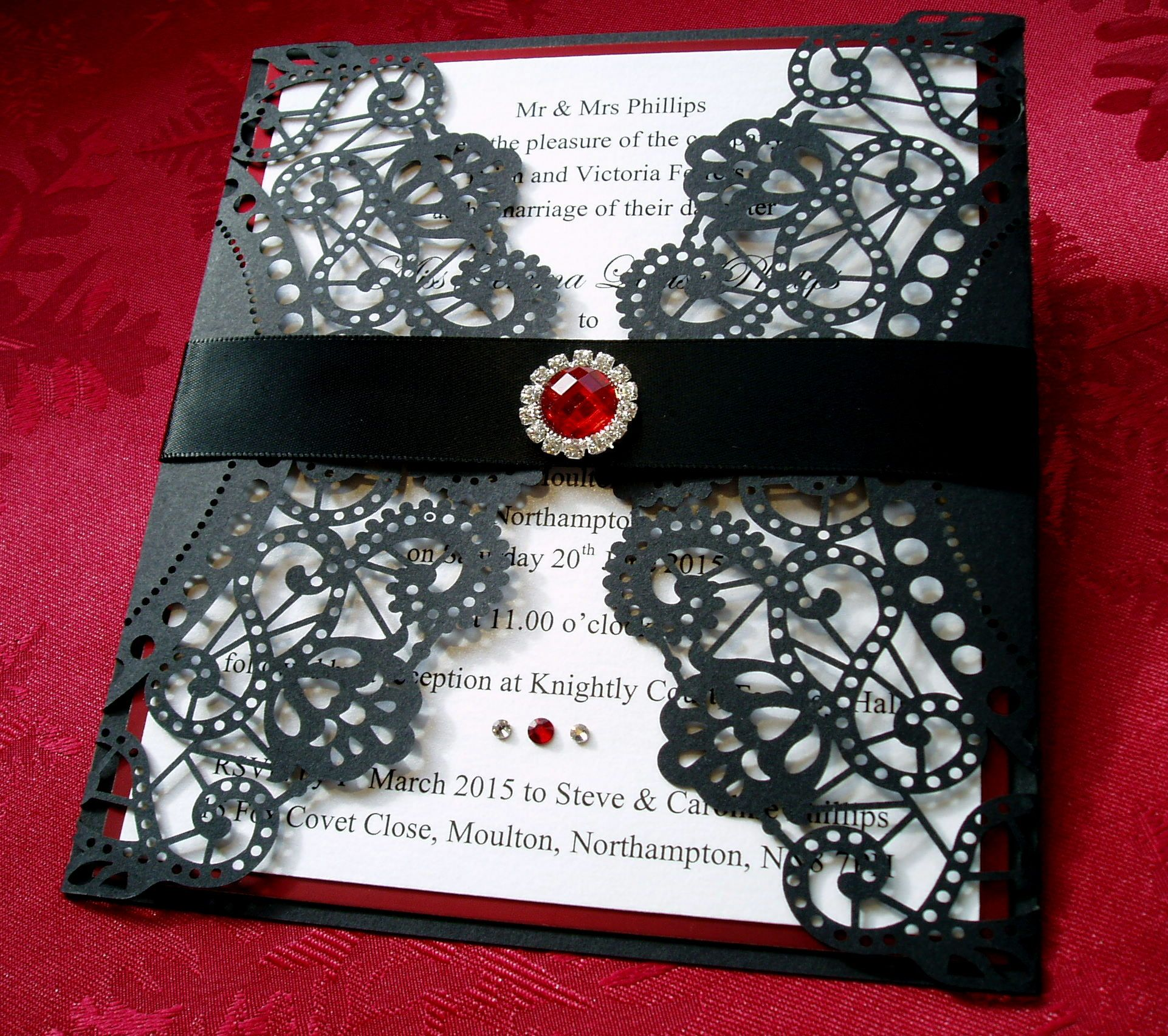 Highgate Gothic Style Wedding Invitation in Black and Red