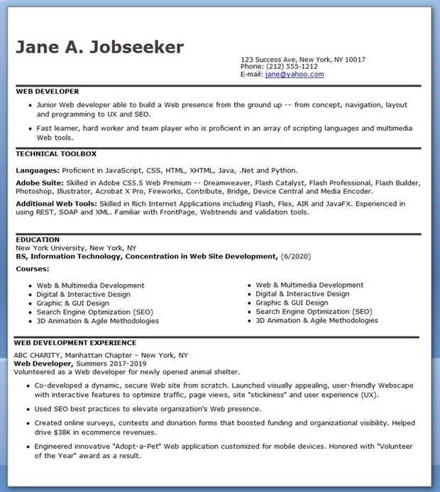 Entry Level Web Developer Resume Examples  Web Developer Resume Example