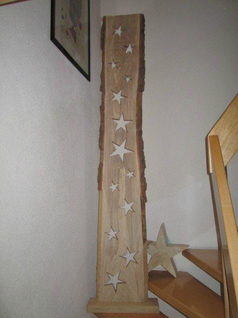 Nr21 Eiche Holzbrett Eiche 13 Sterne 38cm x 3cm x