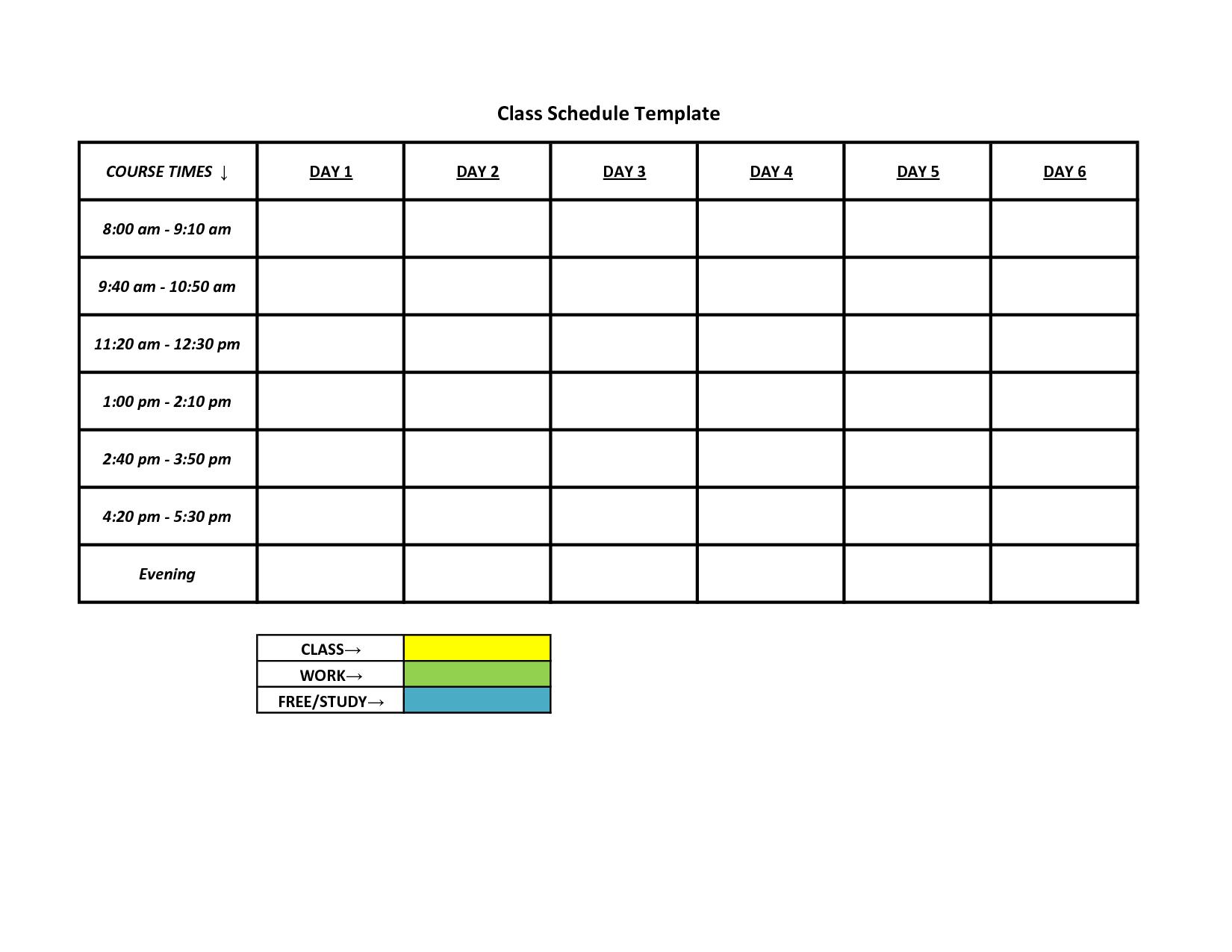 Free Sample Work Schedule Template