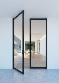 "Double glass pivoting door with ""steel look"" frames"