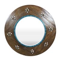 Round Wood Framed Beveled Mirror, Large Round Mirror ...