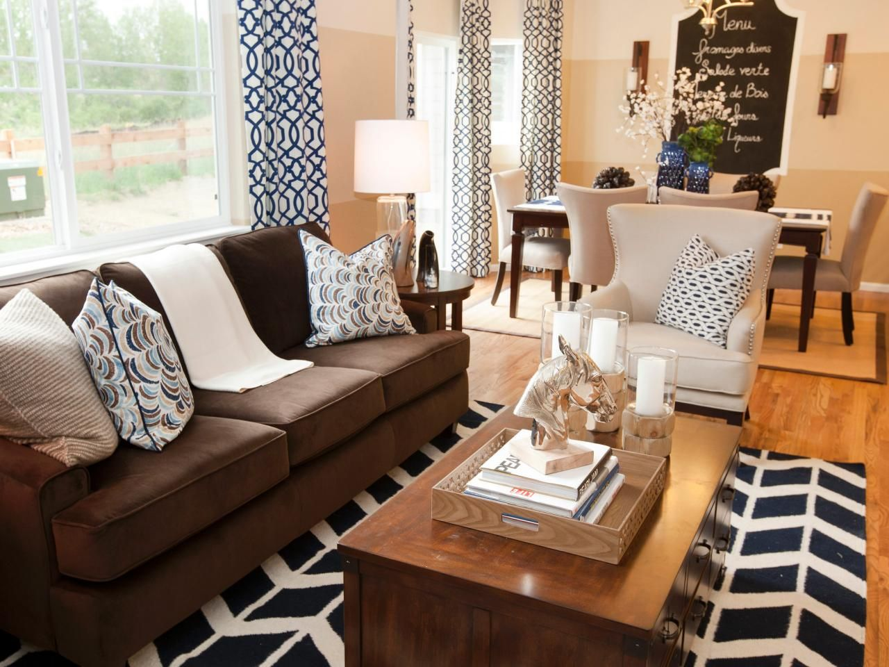 Bold, Graphic, Black-and-white Patterned Curtains, Pillows