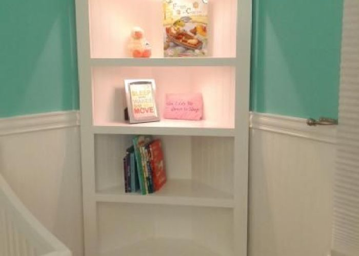 Corner shelf for nursery do it yourself home projects from ana white also