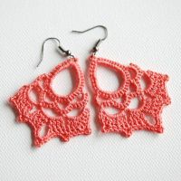 Coral crocheted lace earrings by Shepit on Etsy   Crochet ...