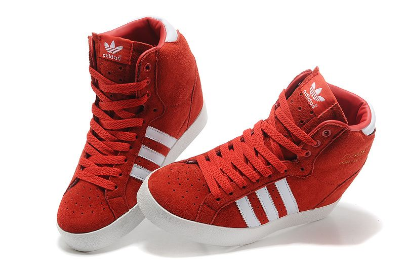 adidas red and white high topsadidas superstar