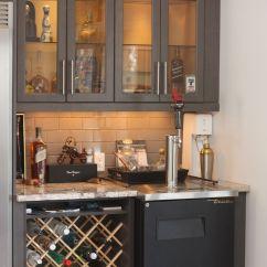 Built In Wine Rack Kitchen Cabinets Shelf Over Sink Custom Bar Area With Kegerator And Glass Door