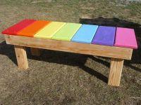 Rainbow bench in daycare play yard. Love the rainbow, make ...