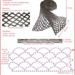 Crochet Scarf Pattern Diagram Wiring Single Pole Switch Multiple Lights Bufanda Sencilla En Punto Red Mundo