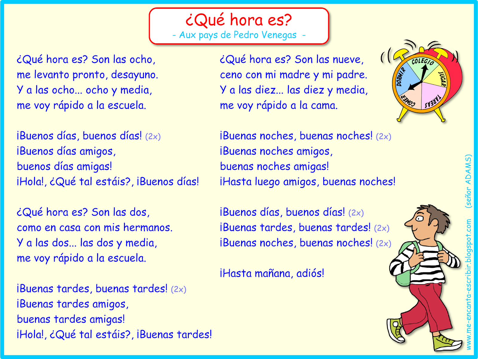Cancion Que Hora Es Aux Pays De Pedro Venegas Rutina