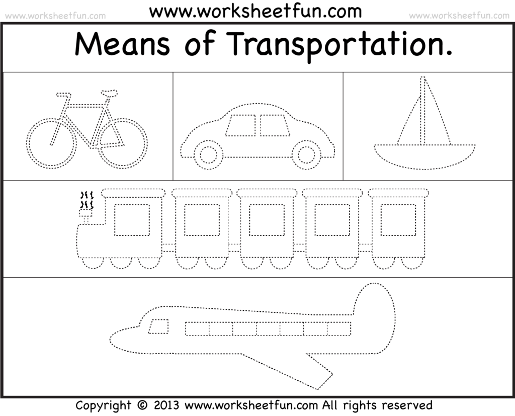 Means Of Transportation Tracing Worksheet Free Printable