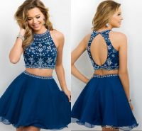 2016 New Arrival Dark Navy Two Pieces Homecoming Dresses ...