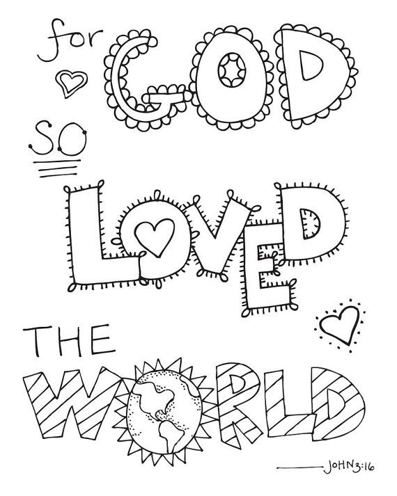 Bible Verse Coloring Page For God So Loved the by