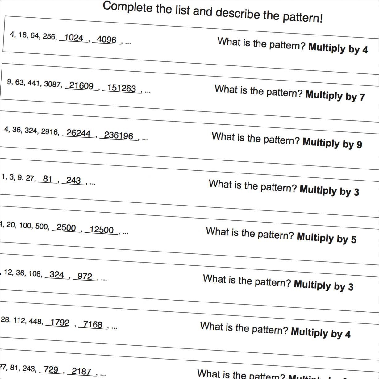 Number Pattern Worksheets That Focus On Multiplication Patterns Great For Psat Warmup