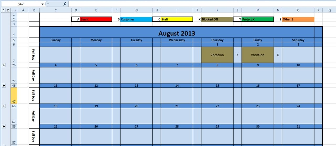 2013 Daily Planner Template Excel