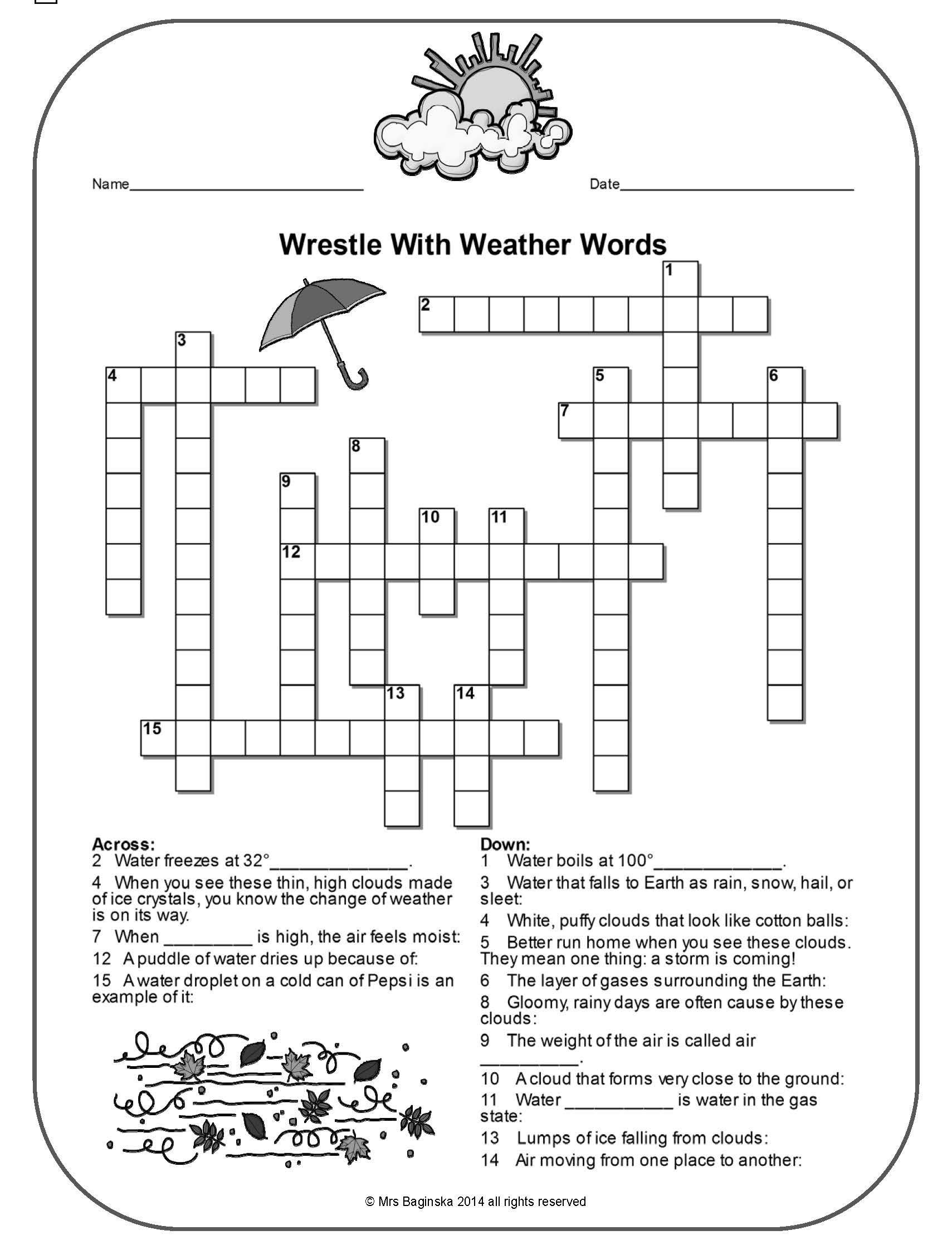 Free Weather Crossword With A Hidden Message Perfect For The Review Of Important Meteorology
