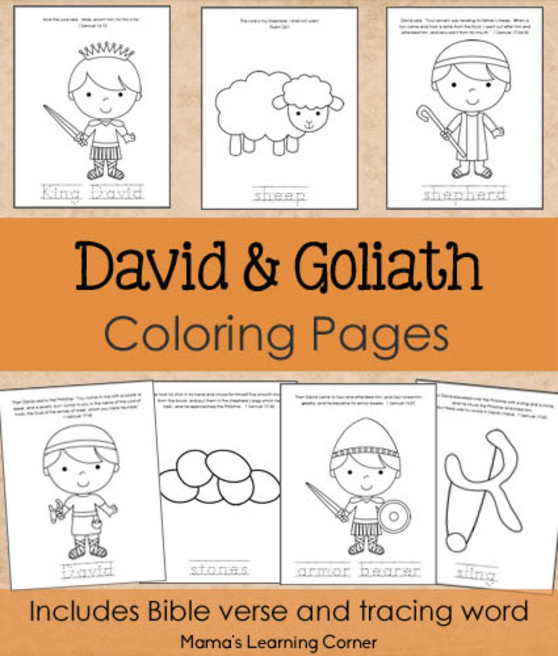 David And Goliath Coloring Pages From Mama S Learning Corner
