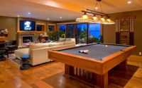 Modern Living Room Design with Billiard Pool at the Center