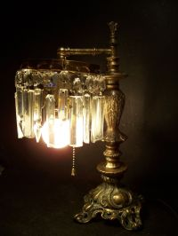 Gorgeous antique victorian electric table lamp w/crystal ...
