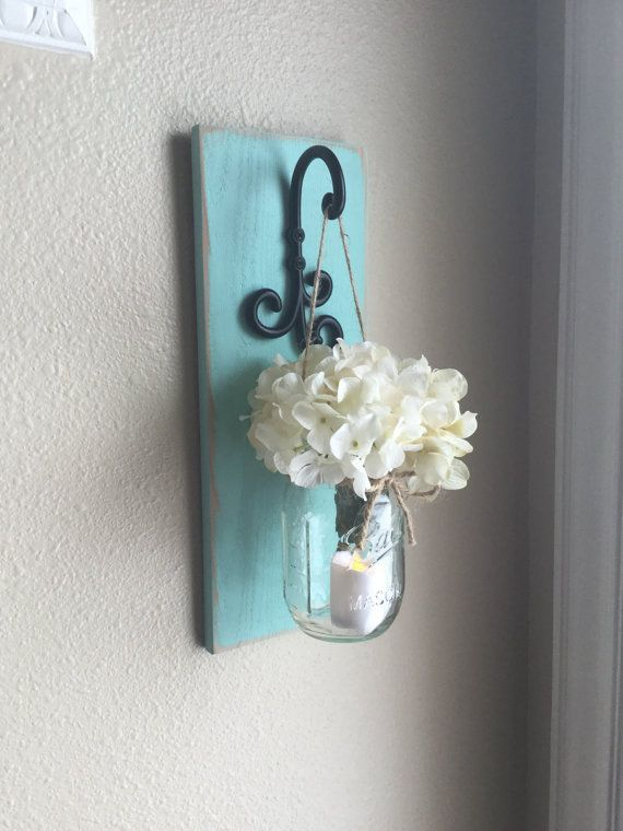 Costal mason jar wall decor bathroom by countryhomeandheart also rh pinterest