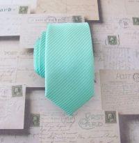 Mens Necktie Pastel Mint Green Tonal Stripes Skinny by ...