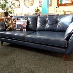 Bed And Sofa Warehouse Leeds King Size Australia Ex Display French Connection Zinc Blue Leather 4 Seater