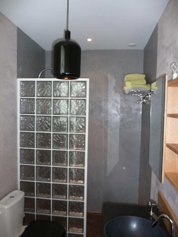Douche bton cir et carreaux de verre  Dco maison  Pinterest  Carreau de verre Beton cir