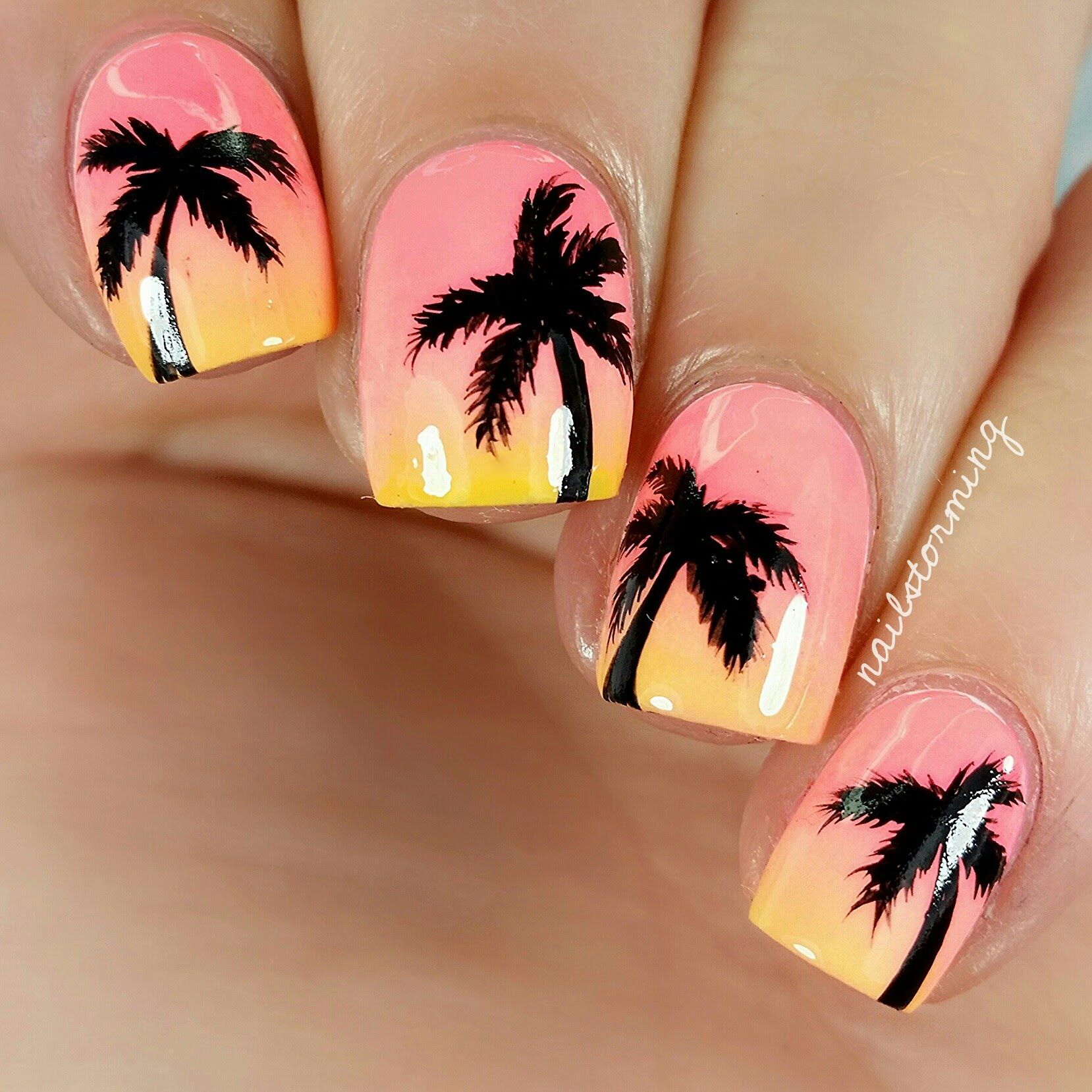 Check out this video for these summer sunset palms