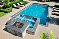 pool with spa designs geometric pool and jacuzzi for small ...