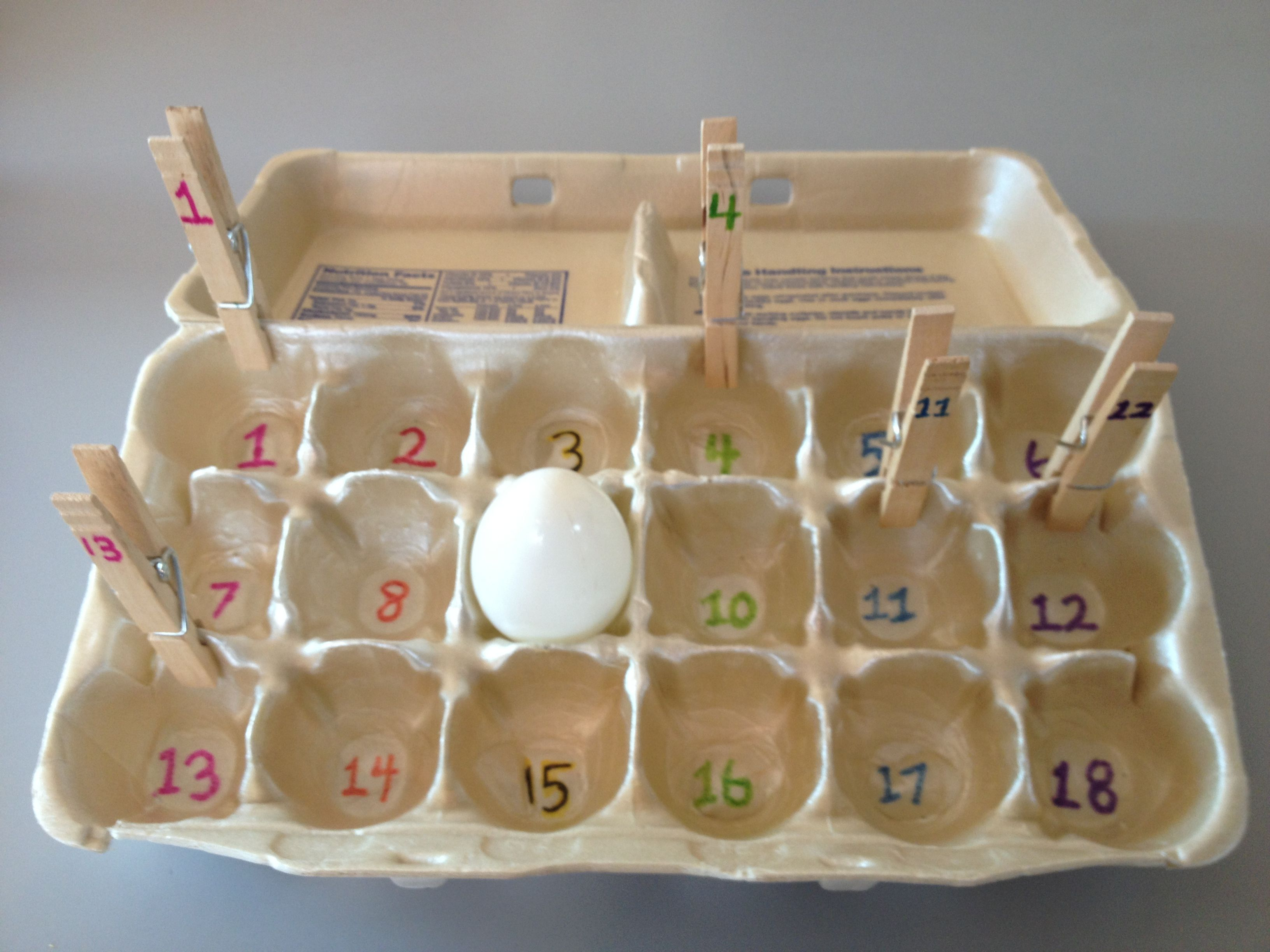 Homemade Preschool Math Game Using Clothespins An Egg Carton And A Plastic Egg Number