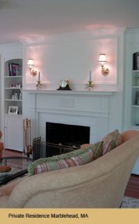 Wall sconce over fireplace in family room/ livingroom ...