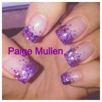 French Manicure Designs Purple