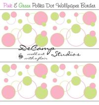 Pink and Green Polka Dot Circle wallpaper border wall art ...