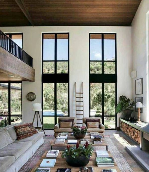 High Ceiling Living Room Wall Designs