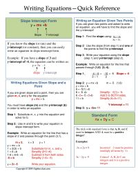 One page notes worksheet for Writing Equations Unit ...