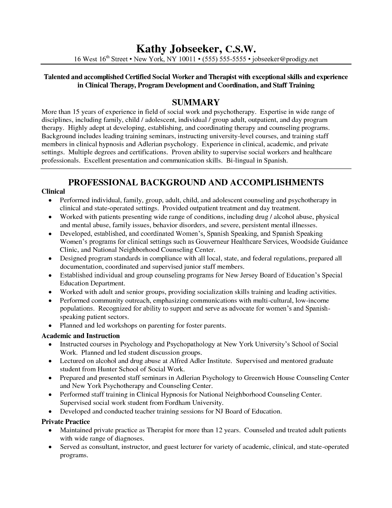 Social Work Resume Objective Examples
