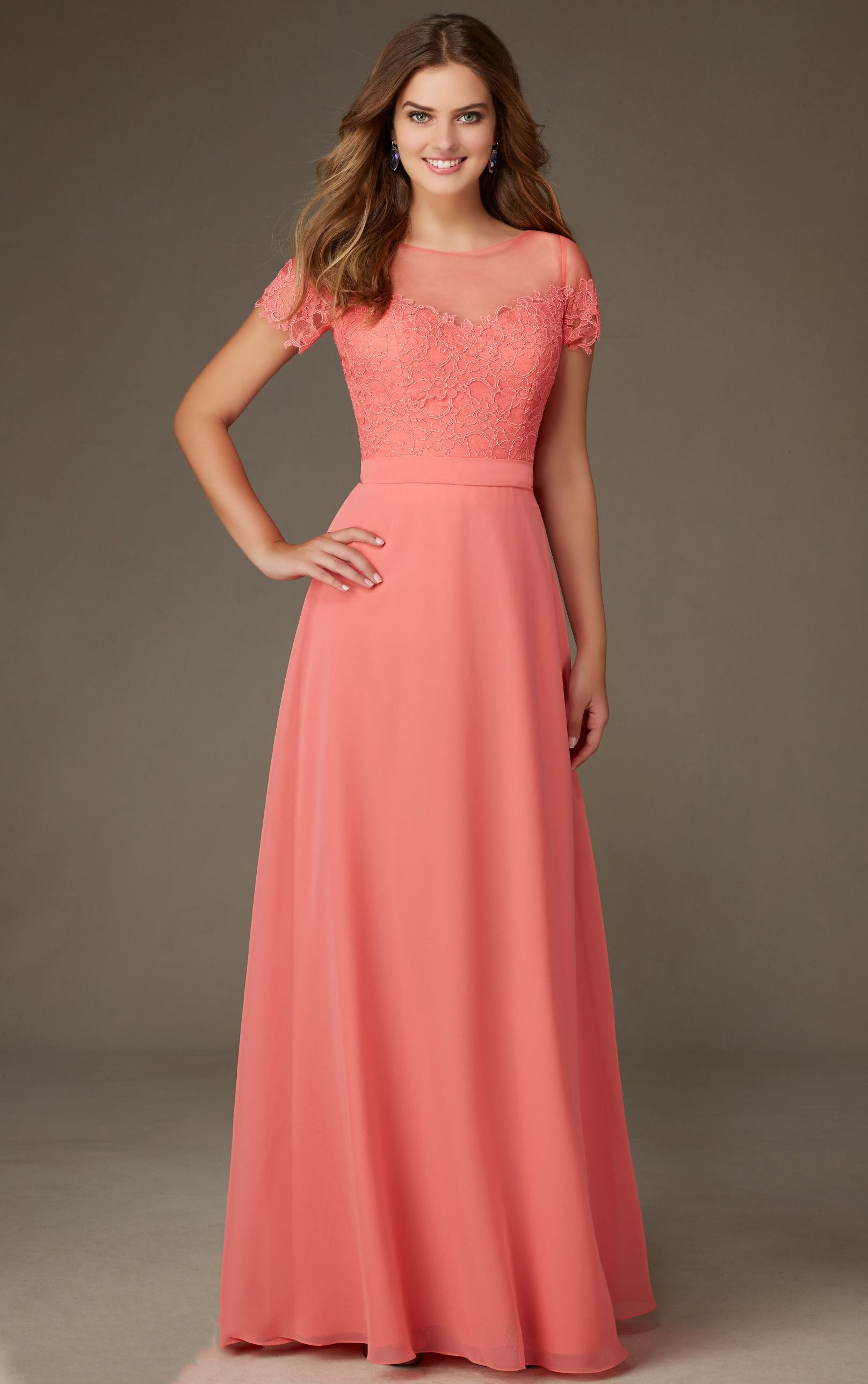 Coral Lace Bodice Short Sleeved Long A