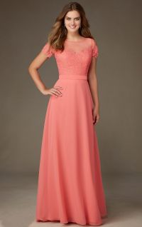 Coral Lace Bodice Short Sleeved Long A-line Chiffon ...