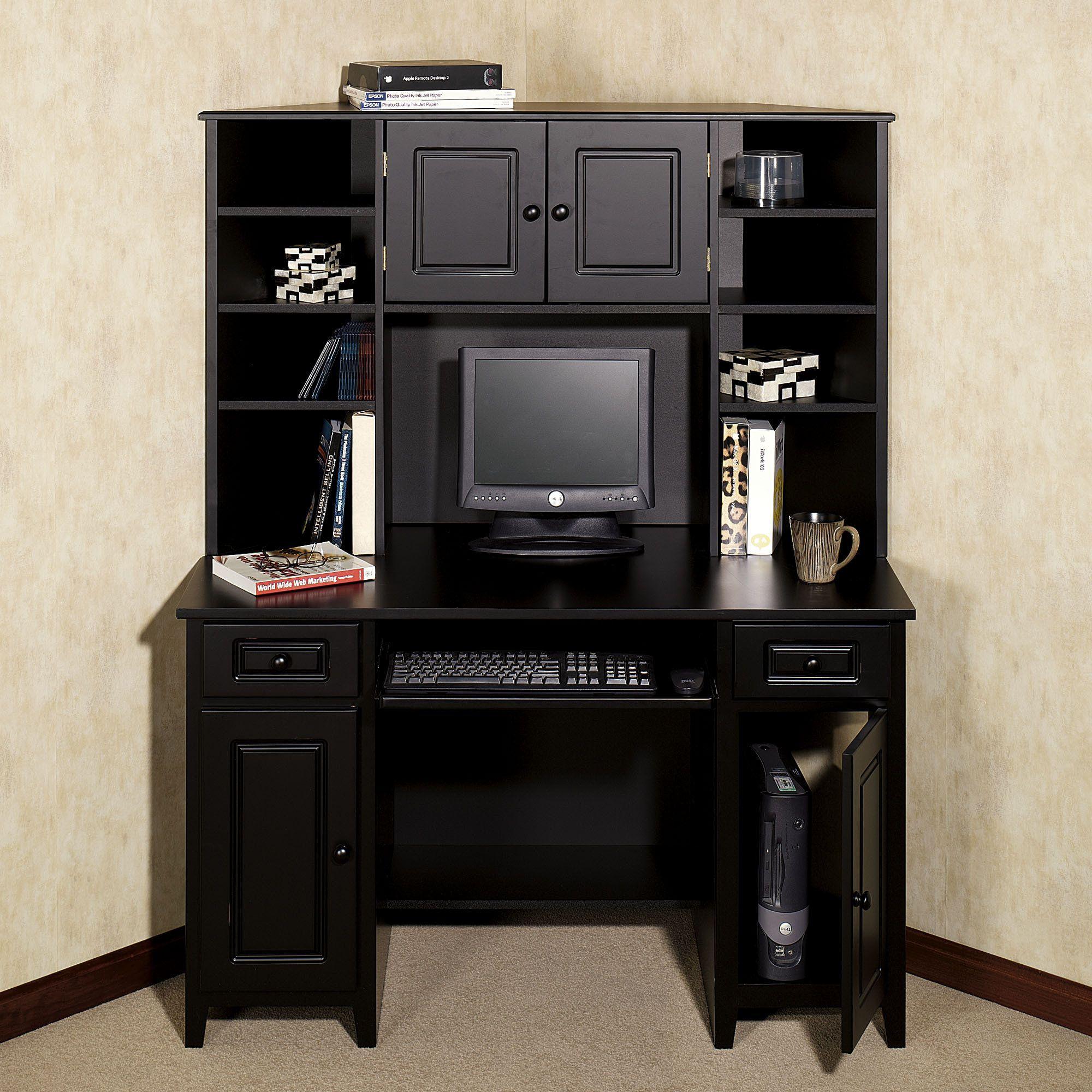 tall black desk  Home Auston Corner Desk  Hutch Set