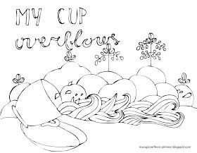 My Cup Overflows with blessings. Psalm 23:5 coloring page