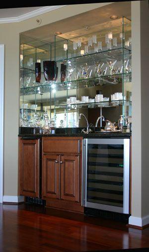 Turn Closet into custom Mirror and Glass Bar   Interiors