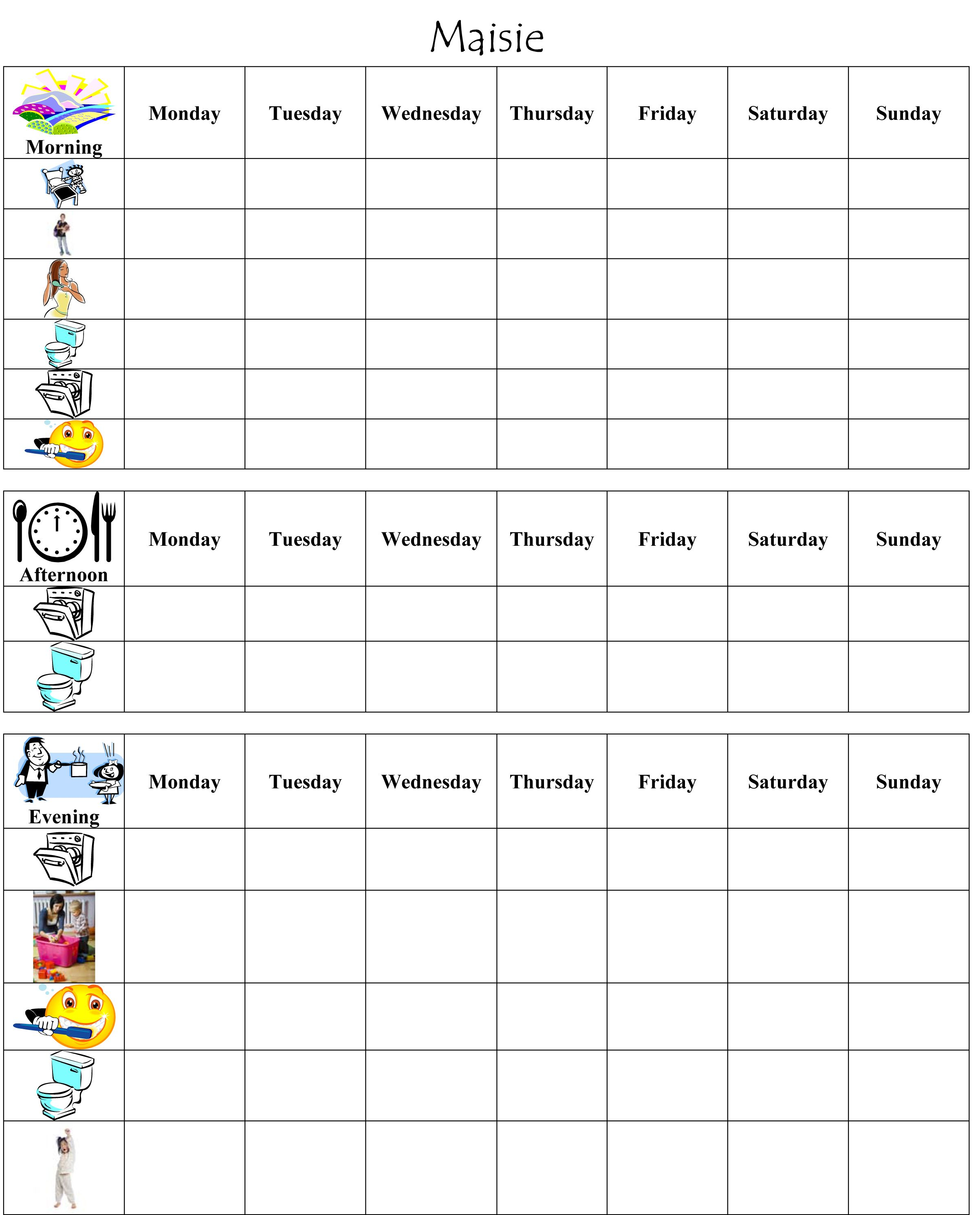Chore Chart For A 2 Year Old