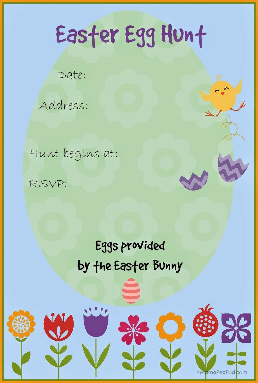 Free Printable Easter Egg Hunt Invitation