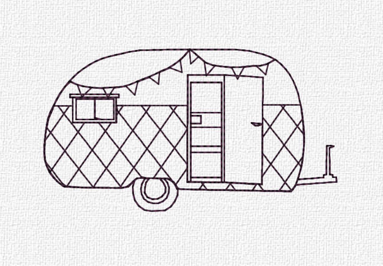 Retro Camper Machine Embroidery Pattern Design Instant