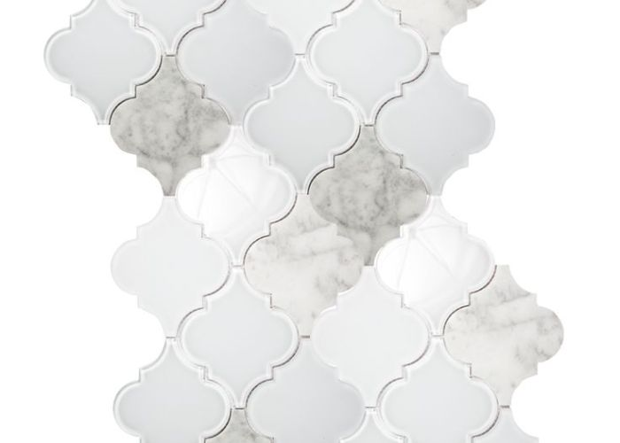 Crisp white glass and marble entwined in this arabesque moroccan tile makes  ine backsplash also